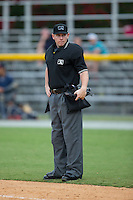 Home plate umpire Russel Weich between innings of the Appalachian League game between the Danville Braves and the Burlington Royals at Burlington Athletic Park on July 12, 2015 in Burlington, North Carolina.  The Royals defeated the Braves 9-3. (Brian Westerholt/Four Seam Images)