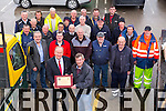 Mayor of Tralee Jim Finnucane presented a Plaque to Town Foreman Murty Quirke and Council Outdoor Staff, to thank them for their work in the Entente Florale, at the Rock street depot on Friday