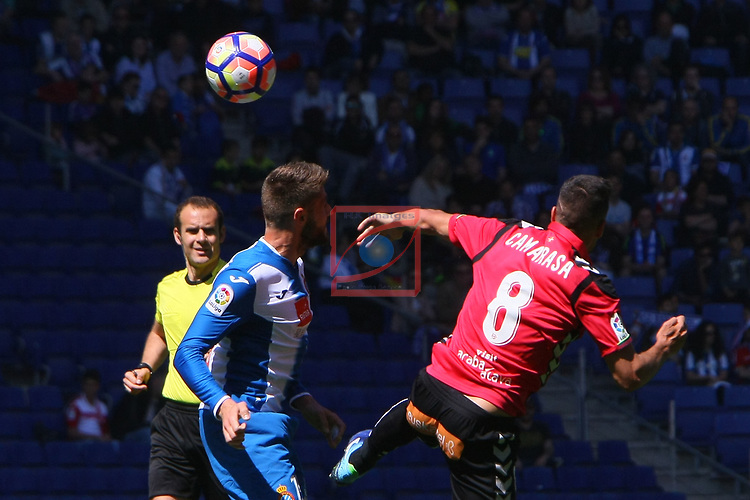 League Santander 2016/2017. Game: 31.<br /> RCD Espanyol vs Deportivo Alaves: 1-0.<br /> David Lopez vs Camarasa.