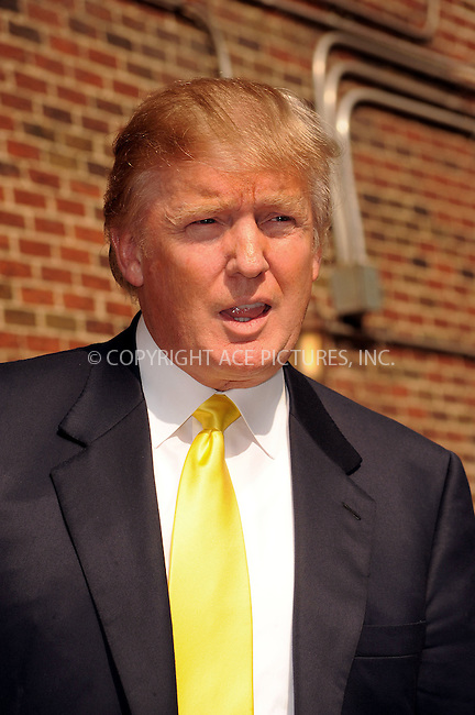 WWW.ACEPIXS.COM . . . . . ....August 18 2009, New York City....Donald Trump made an appearance at the 'Late Show with David Letterman' on August 18 2009 in New York City....Please byline: KRISTIN CALLAHAN - ACEPIXS.COM.. . . . . . ..Ace Pictures, Inc:  ..tel: (212) 243 8787 or (646) 769 0430..e-mail: info@acepixs.com..web: http://www.acepixs.com
