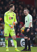 Goalkeeer Asmir Begovic of AFC Bournemouth & Referee Kevin Friend during the Premier League match between Bournemouth and Arsenal at the Goldsands Stadium, Bournemouth, England on 14 January 2018. Photo by Andy Rowland.