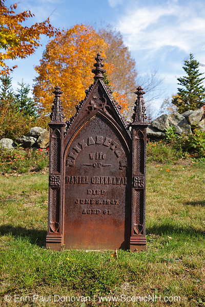 Headstone at Old Cemetery on Millen Pond Road in Washington, New Hampshire USA during the autumn months.