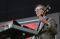 Pictured: J Willgoose Esq of Public Service Broadcasting Saturday May 2016<br /> Re: Manic Street Preachers at the Liberty Stadium, Swansea, Wales, UK