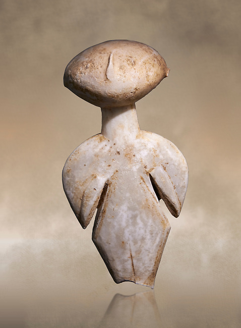 Ancient Greek Cycladic figurine, Kilia type ('stargazer'). Kilia, Gallipoli, Turkey, Circa 4360-3500 BC. Museum of Cycladic Art Athens,