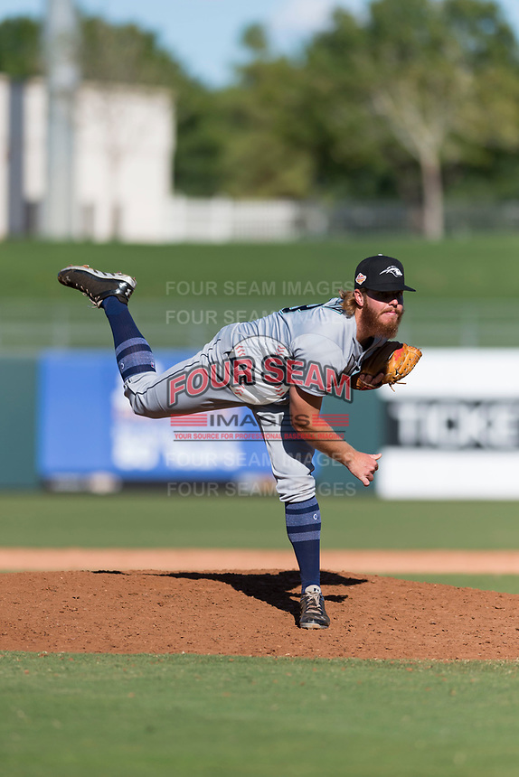 Peoria Javelinas relief pitcher David McKay (38), of the Seattle Mariners organization, follows through on his delivery during an Arizona Fall League game against the Surprise Saguaros at Surprise Stadium on October 17, 2018 in Surprise, Arizona. (Zachary Lucy/Four Seam Images)
