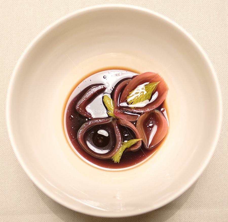 The braised onion broth and spruce at the einsunternull restaurant in Berlin by Ivo Ebert and Chef Andreas Rieger. Photo Sydney Low