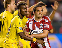 Chivas USA forward Giancarlo Maldonado (20) battles Columbus Crew defender Shaun Francis (29) in the box. CD Chivas USA defeated the Columbus Crew 3-1 at Home Depot Center stadium in Carson, California on Saturday July 31, 2010.