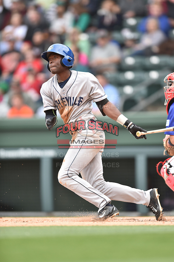 Asheville Tourists left fielder Mylz Jones (7) swings at a pitch during a game against the  Greenville Drive at Fluor Field on April 10, 2016 in Greenville South Carolina. The Drive defeated the Tourists 7-4. (Tony Farlow/Four Seam Images)
