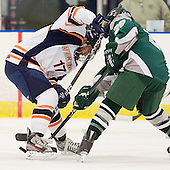 Andrew Cetola (Salem State - 17), Alex Cottle (Plymouth State - 28) - The visiting Plymouth State University Panthers defeated the Salem State University Vikings 3-2 on Thursday, December 1, 2011, at Rockett Arena in Salem, Massachusetts.