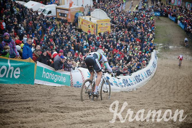 Superprestige Zonhoven 2013<br /> <br /> World Champion Sven Nys throwing himself in 'The Pit'