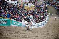 Superprestige Zonhoven 2013<br /> <br /> World Champion Sven Nys throwing himself in 'The Pit'