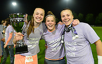 20190430 - OOSTAKKER , BELGIUM : Anderlecht's players Tine De Caigny , Laura Deloose and Justien Odeurs (r) and staff pictured celebrating after winning the Superleague Championship after a womensoccer game between  AA Gent Ladies and RSC Anderlecht Dames  , during play-off 1 in the Belgian Women's Superleague, at the PGB Stadium in Oostakker , tuesday 30 th April 2019 . PHOTO SPORTPIX.BE | DAVID CATRY