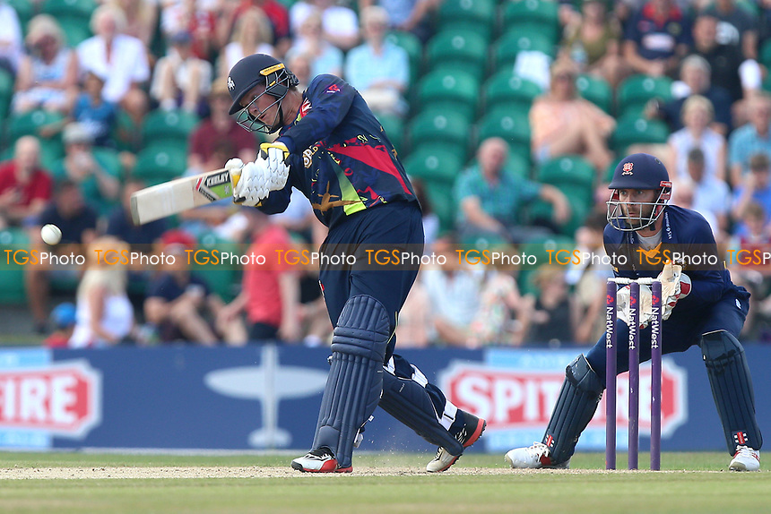 Sam Northeast in batting action for Kent as James Foster looks on from behind the stumps during Kent Spitfires vs Essex Eagles, NatWest T20 Blast Cricket at The County Ground on 9th July 2017