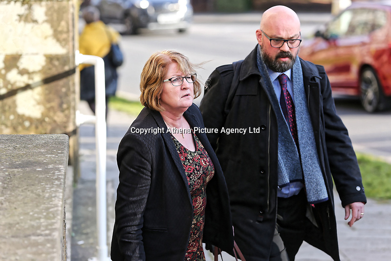 COPY BY TOM BEDFORD<br /> Pictured: Dr Joanne Rowe (L) leaves Newport Coroner's Court. Monday 26 February 2018<br /> Re: Inquest held at Newport Coroner's Court, into the death of five year old Ellie-May Clark who died of an asthma attack, after being refused a GP appointment in Newport, south Wales. <br /> Dr Joanne Rowe refused to see her, on the grounds that her mother was a few minutes late for a booked appointment.<br /> A few hours later, Ellie-May Clark suffered a seizure and died, despite the efforts of an ambulance crew.