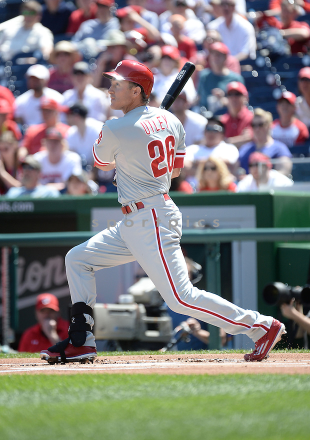 Philadelphia Phillies Chase Utley (26) during a game against the Washington Nationals on April 18, 2015 at Nationals Park in Washington, DC. The Phillies beat the Nationals 5-3.