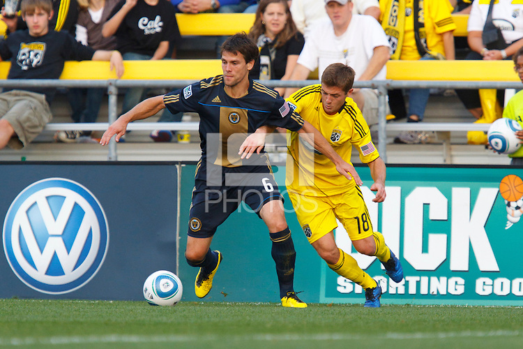 24 OCTOBER 2010:  Philadelphia Union midfielder Stefani Miglioranzi (15) and Columbus Crew midfielder/forward Robbie Rogers (18) during MLS soccer game at Crew Stadium in Columbus, Ohio on August 28, 2010.