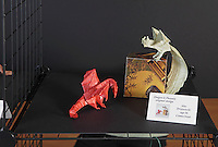 OrigamiUSA Convention 2015 Exhibition. OBC - Origami by Children - section. Dragon and Phoenix designed and folded by Alec Drzewiecki, 16, CT.