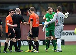 Dundee United v St Johnstone...24.08.13      SPFL<br /> A huge smile on Radoslaw Cierzniak's face as he shakes hands with former team mate Stevie Banks at full time<br /> Picture by Graeme Hart.<br /> Copyright Perthshire Picture Agency<br /> Tel: 01738 623350  Mobile: 07990 594431