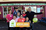 21-9-2017: Mary Murphy, Post Master, Rerrin Post Office on Bere Island in County Cork who sold a 500,000 Euro Millions Plus pictured celebrating with family, Edel, Micheleagh, Olan, Billy, Ultan, Brendain and Brendan Murphy on Thursday.<br /> Photo: Don MacMonagle<br /> <br /> Issued on behlf of The National Lottery