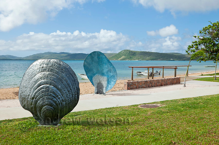 Pearl shell artworks on Victoria Parade foreshore.  The pearl industry has a long history in the Torres Strait islands.  Thursday Island, Torres Strait Islands, Queensland, Australia