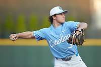 Kyle Datres (3) of the North Carolina Tar Heels makes a throw to first base against the at BB&T BallPark on April 3, 2018 in Charlotte, North Carolina. The Tar Heels defeated the Gamecocks 11-3. (Brian Westerholt/Four Seam Images)