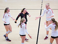 STANFORD, CA - November 4, 2018: Morgan Hentz, Meghan McClure, Kate Formico, Kathryn Plummer, Jenna Gray at Maples Pavilion. No. 2 Stanford Cardinal defeated the Utah Utes 3-0.