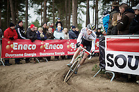 2015 CX World Champion Mathieu Van der Poel (NLD/BKCP-Powerplus) showing his rainbow jersey for the very first time while leading the race in the very last lap<br />   <br /> elite men's race<br /> Krawatencross <br /> bpost bank trofee 2015