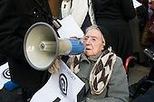 99 year-old Lily Chitty, a used of Millman Street Resource Centre, addresses users of Age Concern Camden's three resource centres at a demonstration outside Camden Town Hall following  the council's decision to cut funding and close them down.