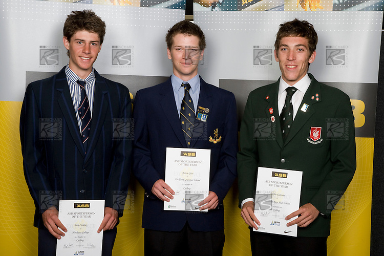 Boys Cycling finalists Sam Lindsay, Aaron Gate & Taylor Gunman. ASB College Sport Young Sportperson of the Year Awards 2008 held at Eden Park, Auckland, on Thursday November 13th, 2008.