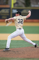 Wake Forest Demon Deacons relief pitcher Chris Farish (32) in action against the Harvard Crimson at David F. Couch Ballpark on March 5, 2016 in Winston-Salem, North Carolina.  The Crimson defeated the Demon Deacons 6-3.  (Brian Westerholt/Four Seam Images)