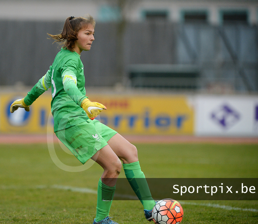 20160319 - FLERS , FRANCE : French Blandine Joly pictured during the soccer match between the women under 17 teams of  France and the Czech Republic , on the first matchday in group 3 of the UEFA Women Under17 Elite rounds at Stade du Haze in Flers , France . Saturday 19th March 2016 . PHOTO DAVID CATRY