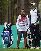 Chris Wood (England) with his caddy Mark Crane (left) during the GOLFSIXES ProAm  at Centurion Club, St Albans, England on 5 May 2017. Photo by Andy Rowland.