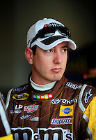 Feb 13, 2008; Daytona Beach, FL, USA; Nascar Sprint Cup Series driver Kyle Busch during practice for the Daytona 500 at Daytona International Speedway. Mandatory Credit: Mark J. Rebilas-US PRESSWIRE