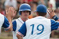25 july 2010: David Gauthier of Team France is congratulated by a teammate after he scores during France 6-1 victory over Czech Republic, in day 3 of the 2010 European Championship Seniors, in Neuenburg, Germany.