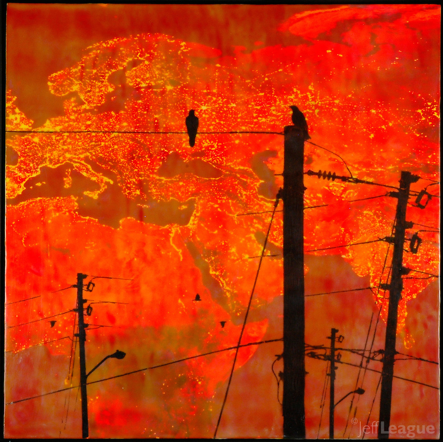 Encaustic painting with photo transfer of crows on telephone poles in red sky at night.