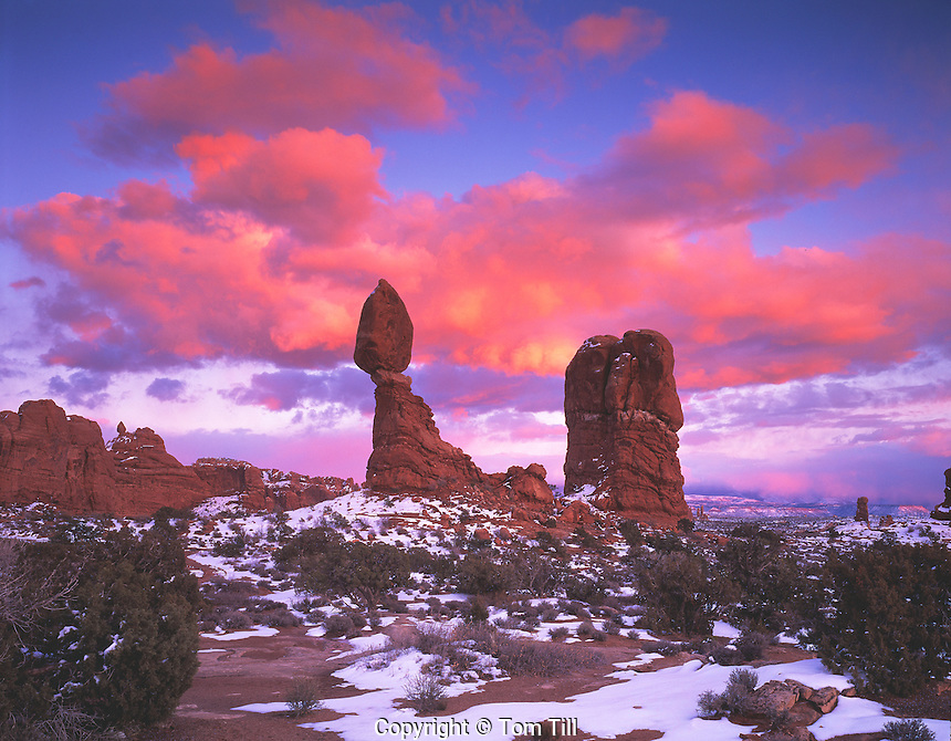 Pink Sunset Clouds at Balanced Rock, Arches National Park, Utah