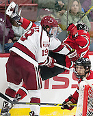 Jimmy Vesey (Harvard - 19), Tommy Grant (RPI - 4) - The Harvard University Crimson defeated the visiting Rensselaer Polytechnic Institute Engineers 5-2 in game 1 of their ECAC quarterfinal series on Friday, March 11, 2016, at Bright-Landry Hockey Center in Boston, Massachusetts.