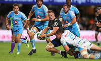DURBAN, SOUTH AFRICA - APRIL 14:  Roelof Smit of the Vodacom Blue Bulls tackling Jean-Luc du Preez of the Cell C Sharks during the Super Rugby match between Cell C Sharks and Vodacom Bulls at Jonsson Kings Park Stadium on April 14, 2018 in Durban, South Africa. Photo: Steve Haag / stevehaagsports.com