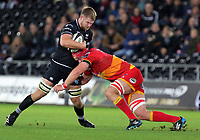 (L-R) Olly Cracknell of the Ospreys is hed back by Joseph Davies of the Dragons during the Guinness PRO14 match between Ospreys and Dragons at The Liberty Stadium, Swansea, Wales, UK. Friday 27 October 2017