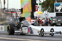 Feb 20, 2015; Chandler, AZ, USA; NHRA top fuel driver Antron Brown during qualifying for the Carquest Nationals at Wild Horse Pass Motorsports Park. Mandatory Credit: Mark J. Rebilas-
