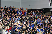 Queens fans delirious in the Rangers v Queen of the South Quarter Final match in the Ramsdens Cup played at Ibrox Stadium, Glasgow on 18.9.12.