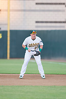AZL Athletics Chris Iriart (23) plays first base during a rehab start against the AZL Brewers on August 18, 2017 at Lew Wolff Training Complex in Mesa, Arizona. AZL Brewers defeated the AZL Athletics 6-4. (Zachary Lucy/Four Seam Images)
