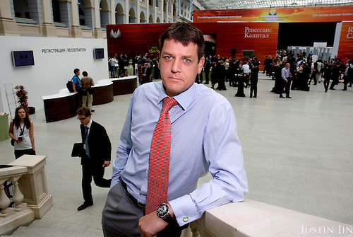 Portrait of Stephen Jennings at an investors' conference organised by his investment brokerage, Renaissance Capital, in Moscow.