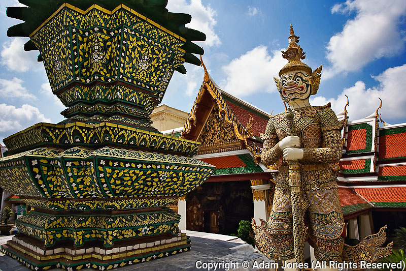 One of six pairs of guardian demon flanking entrance to the Gallery or Phra Rabiang, Bangkok, Thailand