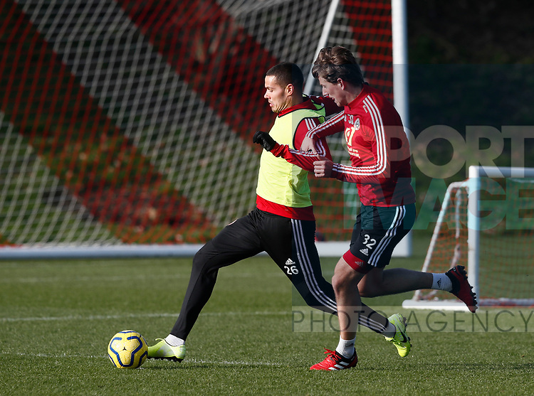 Jack Rodwell and Sander Berge of Sheffield Utd during the Press Conference & Training at the Steelphalt Academy, Sheffield. Picture date: 7th February 2020. Picture credit should read: Simon Bellis/Sportimage