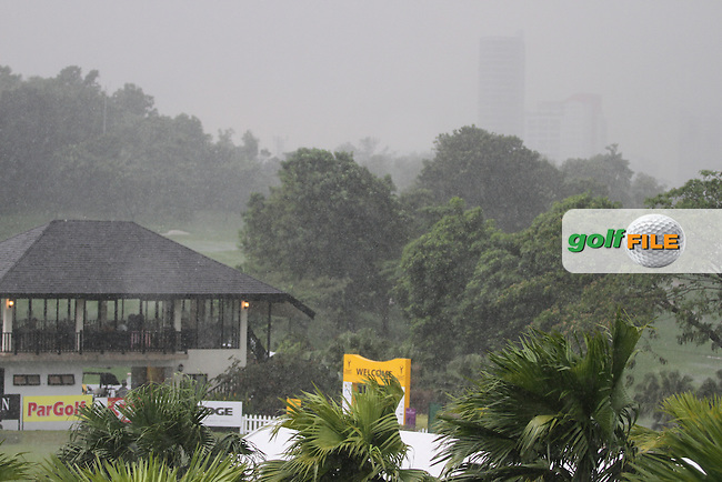 Play Suspended due to weather conditions during Round 1 of the 2013 Maybank Malaysian Open, Kuala Lumpur Golf and Country Club, Kuala Lumpur, Malaysia 21/3/13...(Photo Jenny Matthews/www.golffile.ie)