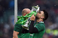 Conor Murray of Ireland kisses the 6 Nations trophy after the match. Natwest 6 Nations match between England and Ireland on March 17, 2018 at Twickenham Stadium in London, England. Photo by: Patrick Khachfe / Onside Images
