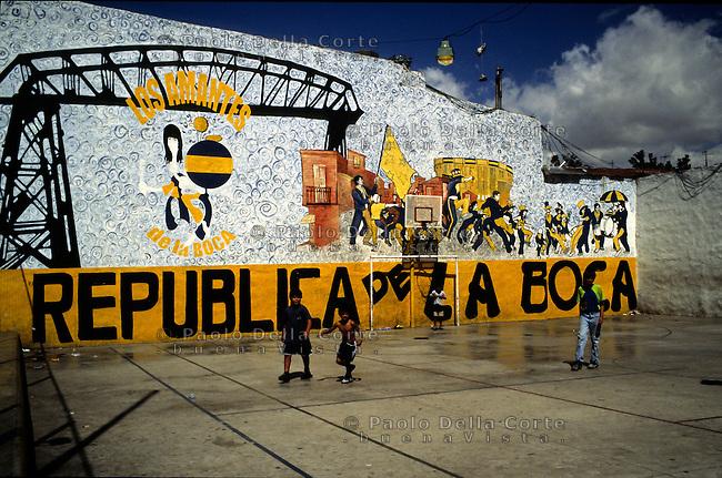 Buenos Aires- Boca. E' il barrio pi&ugrave; caratteristico della citt&agrave;. Nella foto un campo da calcio. boca &egrave; anche il nome della pi&ugrave; famosa squadra di calcio della citt&agrave;<br /> &copy; Paolo della Corte