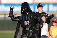 Rochester Red Wings invited Darth Vador to throw out the ceremonial first pitch on Star Wars night before a game against the Indianapolis Indians at Frontier Field on June 18, 2011 in Rochester, New York.  Rochester defeated Indianapolis 12-7 on Star Wars night where the team wore special jerseys.  (Mike Janes/Four Seam Images)