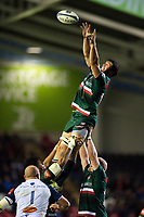 Dom Barrow of Leicester Tigers rises high to win lineout ball. European Rugby Champions Cup match, between Leicester Tigers and Castres Olympique on October 21, 2017 at Welford Road in Leicester, England. Photo by: Patrick Khachfe / JMP